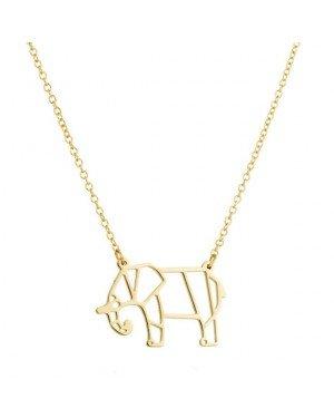 LGT Jewels Dames ketting Origami elephant Goudkleurig