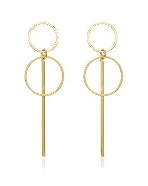 LGT Jewels Dubbele Cirkel Damesoorbellen met Lijn Goud