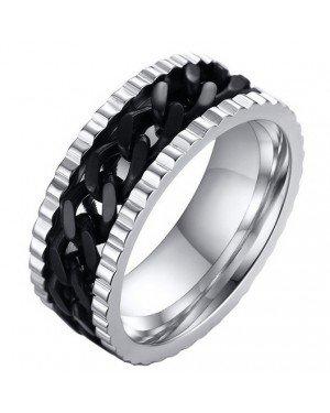 LGT Jewels edelstaal heren ring Cuban Link Zilver Zwart