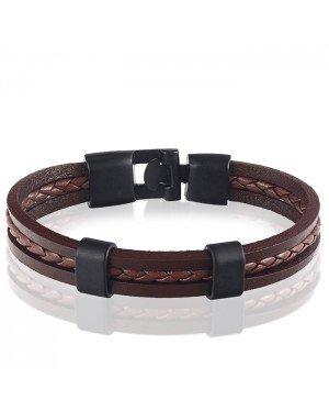 LGT Jewels heren armband Bruin Gevlochten leer Schuifgesp - 20cm