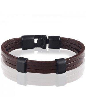 LGT Jewels heren armband Bruin leer Schuifgesp - 20cm