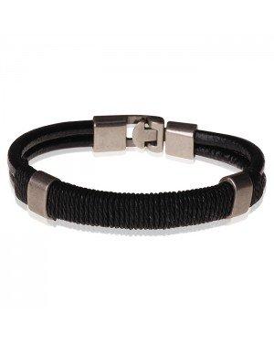 LGT Jewels heren armband Leer Touw Zwart- 20.5cm