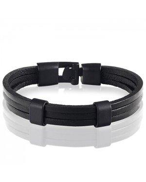 LGT Jewels heren armband Zwart leer Schuifgesp - 20cm