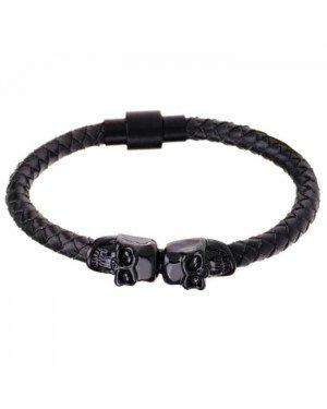 LGT Jewels Leren armband Edelstaal Twin Skull Zwart