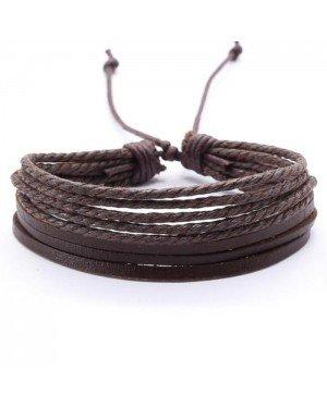 LGT Jewels Multi armband Leer Touw Bruin