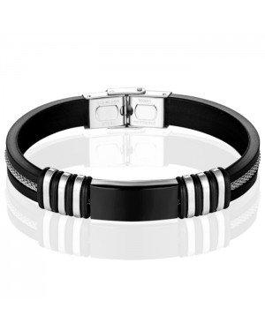 LGT Jewels Siliconen armband Graveer Plaatje RVS Zwart