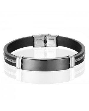 LGT Jewels Siliconen armband Heren RVS ID Zwart
