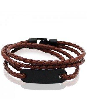 LGT Jewels Wrap armband Bruin Gevlochten leer Schuifgesp - 19.5cm