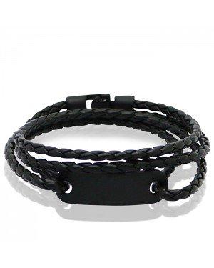 LGT Jewels Wrap armband Zwart Gevlochten leer Schuifgesp - 19.5cm
