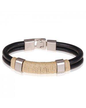 LGT Jewels Zwarte leren armband Geel Touw - 20.5cm