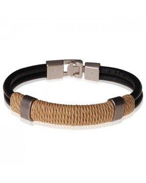 LGT Jewels zwarte leren armband Heren Geel Touw- 21.5cm