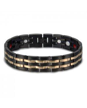 Magnetische mannen armband Mendes Edelstaal Energie Zwart Goudkleurig