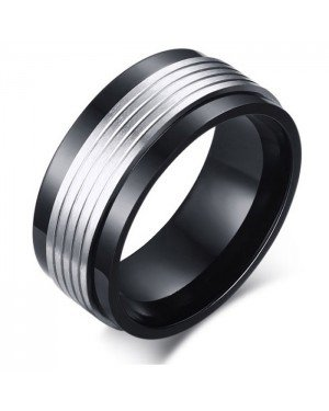 Mannen ring Staal Spinner Black Silver