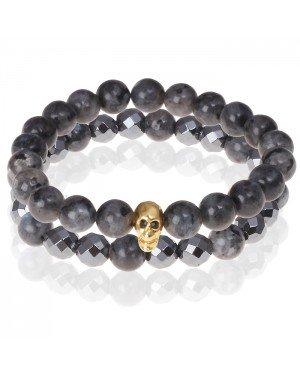 Matte Agaat kralen armband Hematiet Goudkleurige Skull