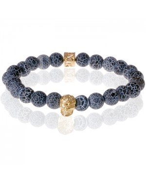 Memphis armband Frosted Agaat Gold Skull