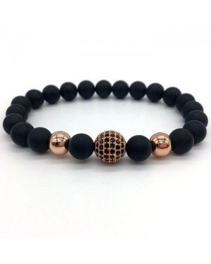 Memphis armband Matte Agaat Zirconia Ball Rose