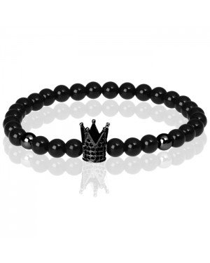 Memphis kralen armband Agaat Crown Black
