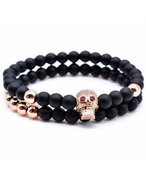 Memphis kralen armband  Agaat Skull Rose