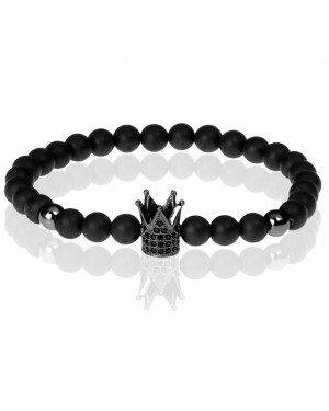 Memphis kralen armband Matte Agaat Crown Black