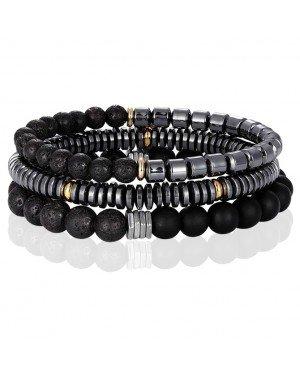 Memphis kralen armbanden Set Agaat Hematiet Zwart