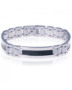Mendes edelstaal heren armband Carbon