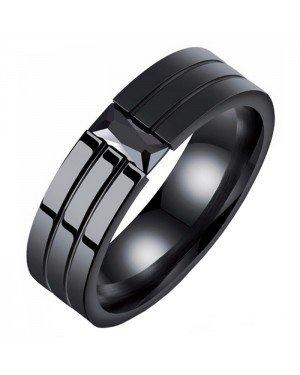 Mendes edelstaal heren ring Zwart Edelsteen