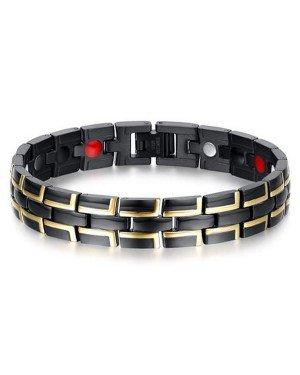 Mendes heren armband Edelstaal Magneet Zwart Goud