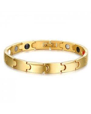 Mendes heren armband Magneten Edelstaal Goudkleurig