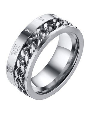 Mendes heren ring Cuban Link Roman Numeral Silver