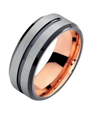 Mendes heren ring Wolfraam Rose Verguld Mat Zilver 8mm