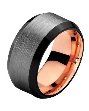 Mendes heren ring Wolfraam Zilver Zwart Rose 8mm