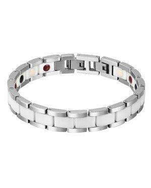 Mendes Keramieken Heren Armband Magnetische Power Zilver Wit