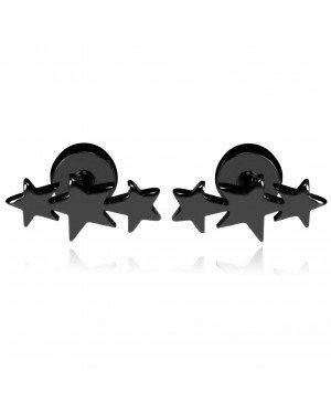 Mendes Triple Star Stud oorbellen Titanium Zwart