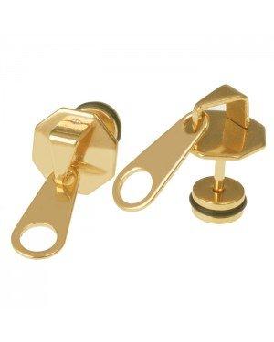 Mendes Zipper Stud oorbellen Titanium Goud