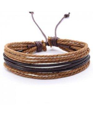 Multi armband LGT Jewels Verstelbaar Leer Touw Bruin