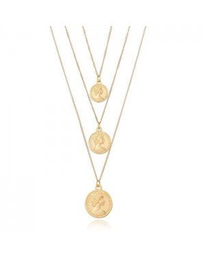 Multi layer dames ketting Goudkleurig Coins