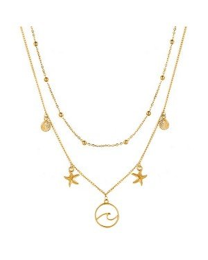 Multi Layer dames ketting Ocean Shell Starfish Goudkleurig