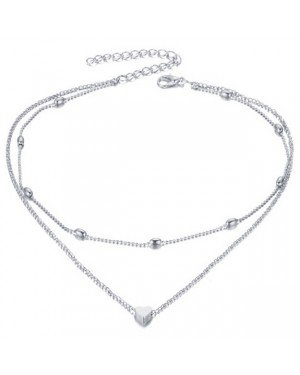 Multilayer dames choker Heartbeat Zilverkleurig