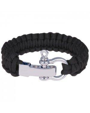 Paracord armband Zwart met Zilver