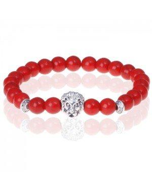 Rode Agaat kralen armband Leeuwenkop