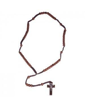 Rozenkrans bruine houten kralen met kruis