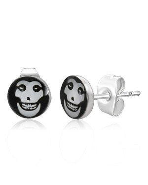 RVS heren oorbellen Evil Skull 7mm