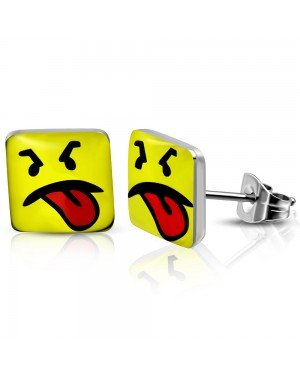 RVS heren oorbellen Disgusted Smiley 7mm