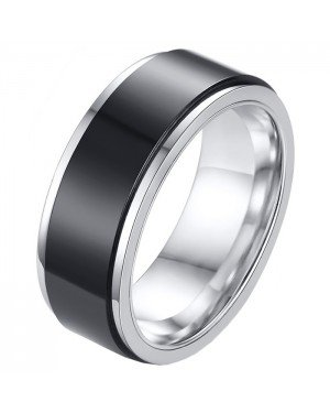 RVS heren ring Spinner Zilver met Zwart