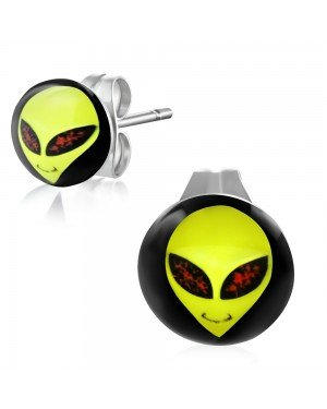 RVS oorbellen Alien Face 10mm