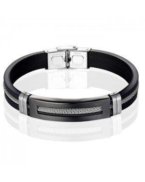 Siliconen armband LGT Jewels Heren RVS Mesh Zwart