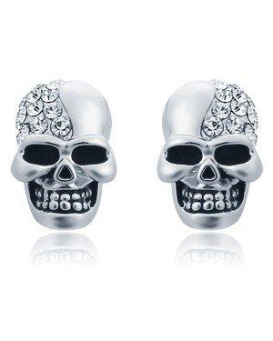 Skull Stud oorbellen Edelstaal Kristal Zilver