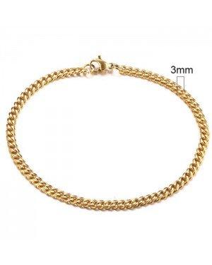 Stalen heren armband LGT JWLS Gourmet schakel Goudkleurig 3mm