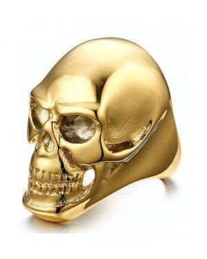 Stalen herenring Skull Gold