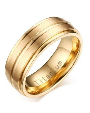 Titanium heren ring Goud 8mm